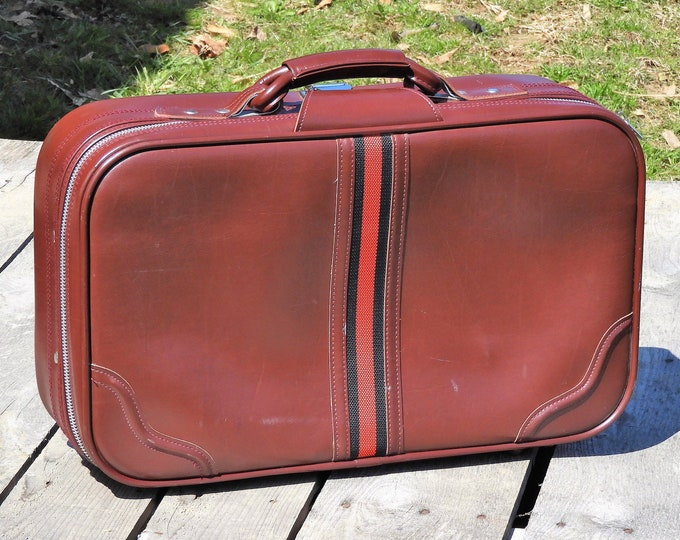 Vintage Carryon Luggage, Red Stripe Overnight Bag, Faux Leather Suitcase, Oxblood Travel Case, Retro Suitcase