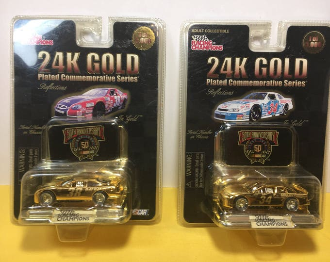Vintage Nascar Toys, Nascar 38 & 34 24K Gold Plated Commemorative Series,  Racing Champions Barbasol 38, Goulds Pumps 34, Two Collectibles