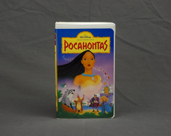 Vintage Walt Disney Movie, Pocahontas VHS, Childrens Film, 01 02 1996, Masterpiece Collection, Kids Cartoon, Pink & Yellow