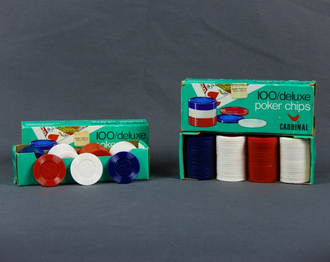 Vintage Poker Chips, Cardinal Boxes (2), Interlocking Plastic, Red Blue & White, Hoyle Play, Game Room Decor, Gaming Collectibles