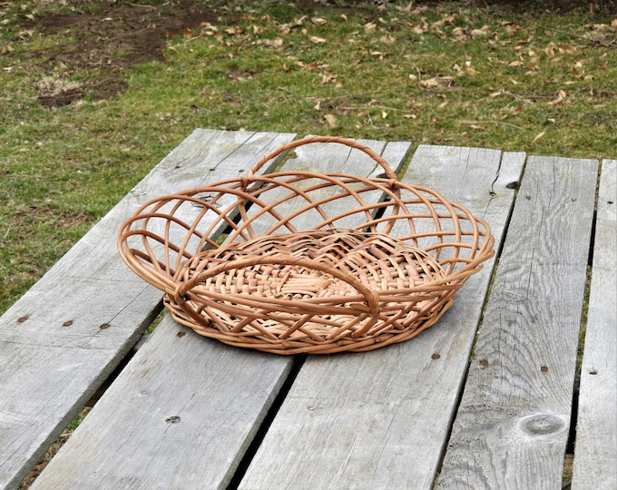 Vintage Wooden Basket, Rattan Decoration, Brown Woven Centerpiece, Bent Wood Design, Made in Portugal, Boho Serving Tray, Wall Hanging