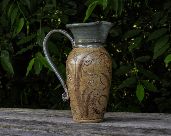 Vintage Briney Pitcher, Pottery Vase, Gray & Brown, Wheat Theme, Home Decor, Natural Texture, Entryway Decoration, Collectible Ceramic