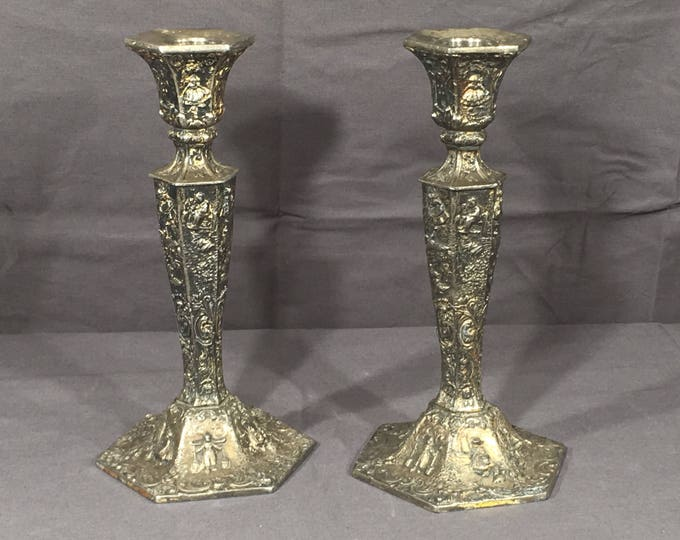 Vintage Silver Candle Holders (2), W B Mfg Silver Plate Candlestick Decorations, Collectible Metal Arts, #2359 Decorative Candle Holders