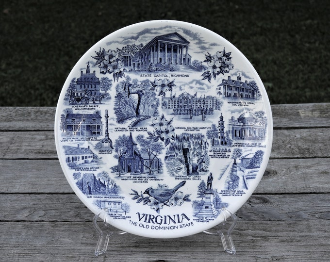 Vintage Blue & White Plate, State of Virginia, Old Dominion, Old English, Staffordshire Ware, Made in England, Home Decor, Alfred Meakin