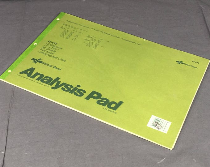 Vintage Analysis Pad, National Brand 45-613 Pad, 13 Column Green Legal Pad, Lithographed Line Ledger Pad, Retro Green Office Paper