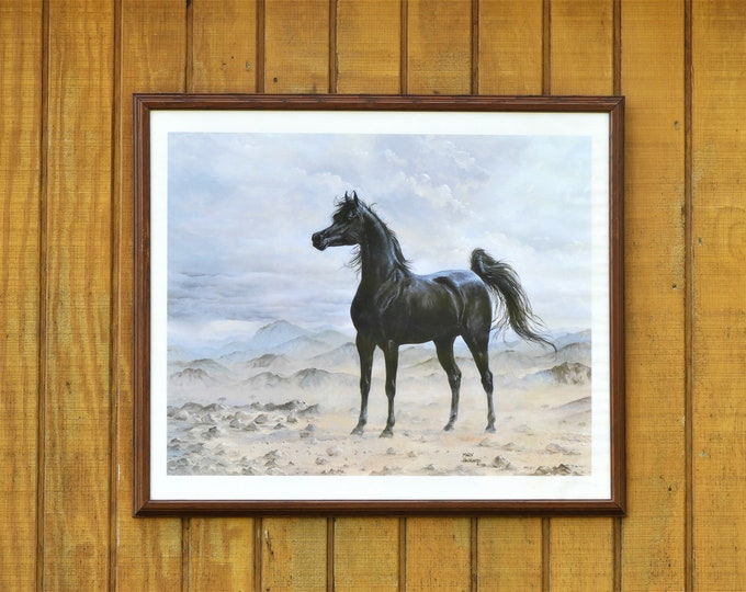 Vintage Black Stallion Print, Mary Haggard 1988, Framed Horse Art, Wall Hanging Decor, Churchill Decorations, Wild Equestrian Collectibles
