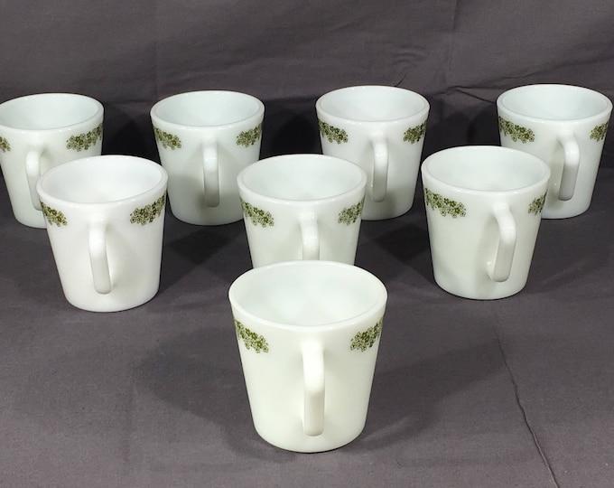 Vintage Crazy Daisy Mug Set (8), Pyrex Milk Glass Coffee Cups, Decorative  D Handle Mugs, White & Green Glass Mugs, Collectible Dinnerware