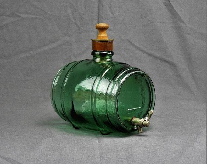 Mid Century Decanter, Green Glass Barrel, Mod Depositato, 2 Quart Keg, Piggy Bank, Home Decor, Collectible Bottle, Wood Grain Texture
