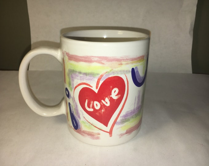 "Vintage Love Mug, Ceramic Coffee Cup, Retro Gift Mug, ""i love u"" Mug, Blue Purple Red Heart Cup, Artwork Both Sides"