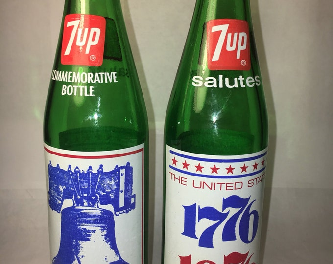 "Vintage 1975 Seven-Up Bottles (2), Green Commemorative 7-Up 1776-1976 Bottle, ""Liberty Bell First Rung July 8, 1776"", Freedom Glass Bottle"