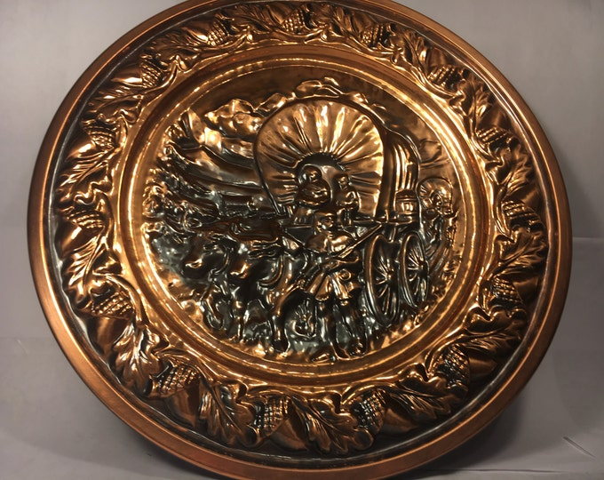 Vintage Western Picture, Copper Wall Art, Wagon Train Collectible, Decorative Wall Plate, Coppercraft Guild Wall Decor, Metal Craft