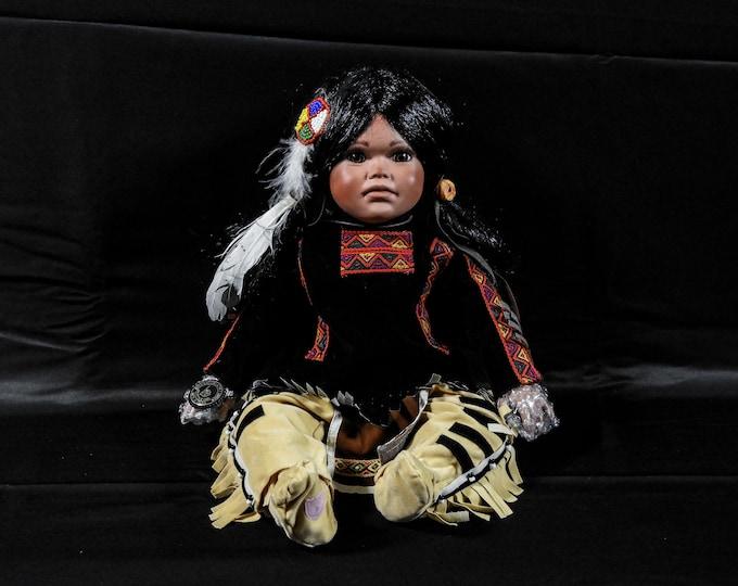 Vintage Indian Doll, Porcelain Scout, Brinns Collectible, 1991 NM3577, Black & Brown, Southwestern Decor, Home Decoration