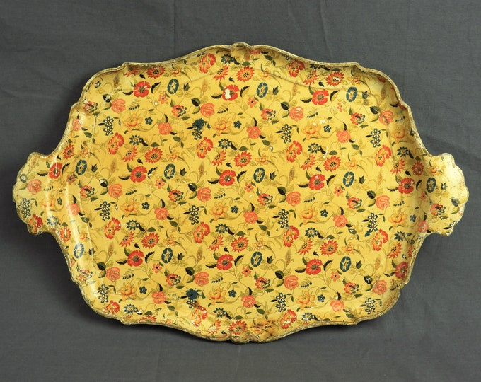 Vintage Wall Decor, Flower Tray, Hanging Decoration, Distressed Decoupage, Gold & Orange, Made in Japan, Kitchen Centerpiece, Floral Art