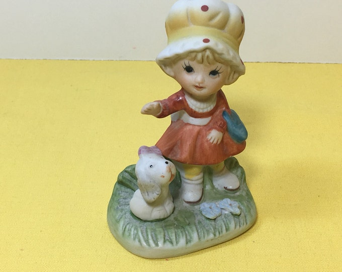 Vintage Figurine, Homco 1430 Figurine, Little Girl Red Dress w/Dog, Orange Dress Figurine w/Puppy, Mushroom Hat Figurine