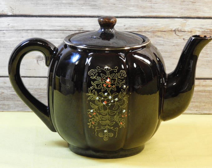 Vintage Oriental Tea Pot,Brown Floral Dot Hand Painted Pottery Tea Pot,Aladdin Style Gold Accent Coffee Pot,Large Handle Capacity Ribbed Pot