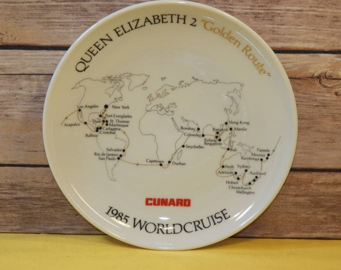 Vintage Cruise Souvenir Plate, White Queen Elizabeth 2 Golden Route 1985 World Cruise, Cunard Cruise Lines Ceramic Plate, Nautical Map Plate