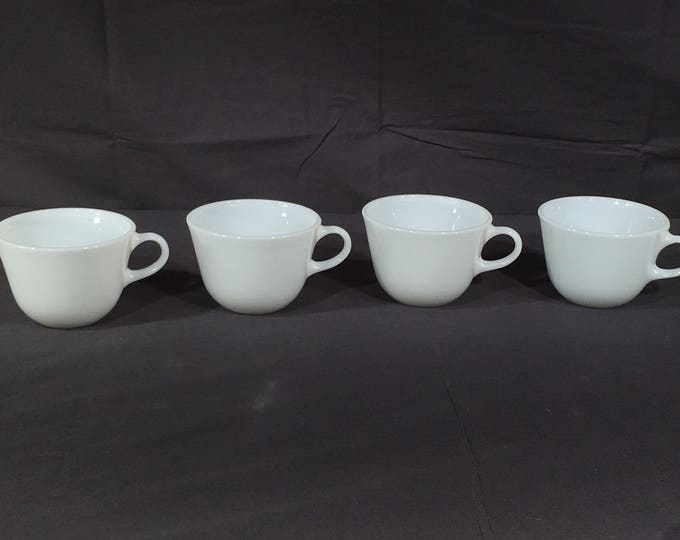 Vintage White Coffee Cups (4), Corning Pyrex Milk Glass Teacups, Decorative White Tea Cups, Collectible Coffee Cups, Four White Mugs