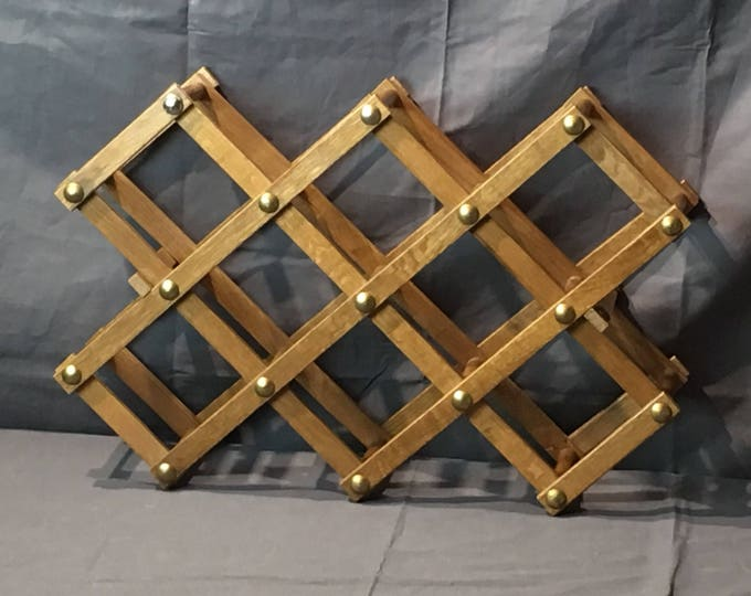Vintage Wine Rack, Decorative Wooden Bottle Rack, Brown & Gold Kitchen Furniture, Folding Wood Wine Rack, Accordian Wine Rack