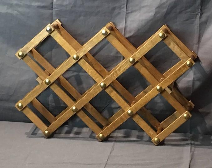 Vintage Wine Rack, Geometrical Decor, 8 Bottles, Brown & Gold, Kitchen Furniture, Folding Design, Accordion Style, Home Decoration