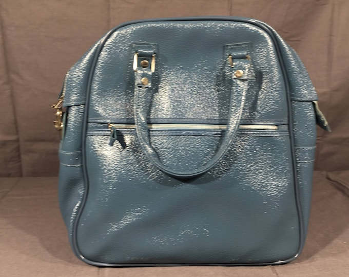 Vintage Overnight Bag, Decorative Retro Blue Luggage, Faux Leather Storage Duffel, Quality Train Case, Garment Luggage, Made in Japan
