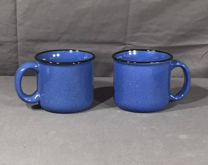 Vintage Stoneware Advertising Mugs (2), Decorative Marlboro Unlimited Coffee Cups, Blue & Black Dinnerware, Collectible Blue Kitchenware
