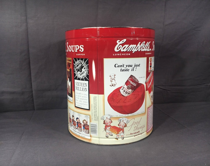 Vintage Campbells Soup Tin, Decorative Red & White Centerpiece, Primitive Kitchen Island Decor, Colorful Metal Art, Advertising Collectible