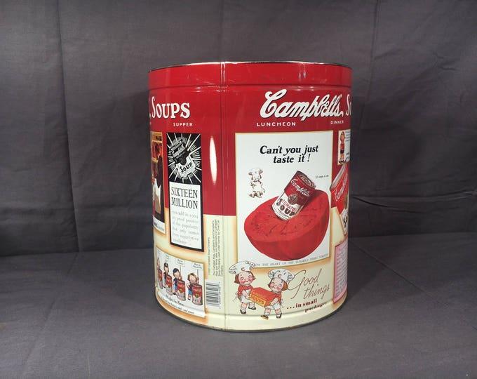 Vintage Campbells Soup Tin, Decorative Red & White Centerpiece, Primitive Kitchen Island Decor, Colorful Metal Art, Advertising Collectible
