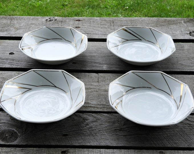 Vintage Ranmaru Soup Bowls (4), Crystalline White, Gold Accents, Gallery Collections, Octagonal Shape, Glass Ceramics, Fine Dinnerware