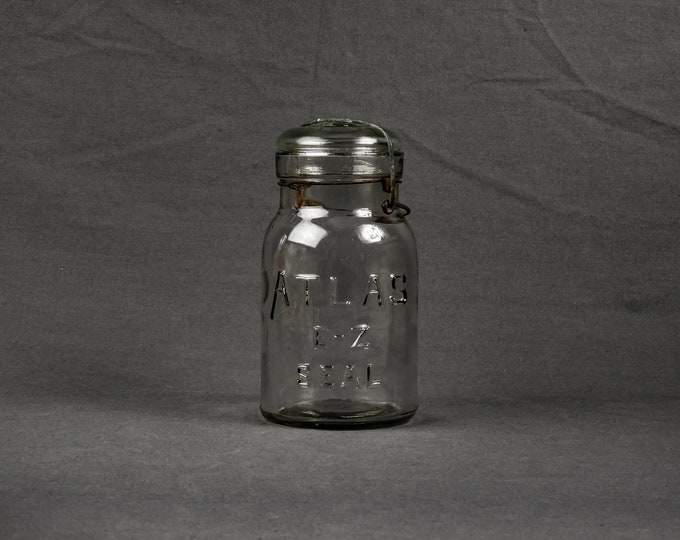 Antique Atlas Jar, Glass E-Z Seal, Quart Size, Pre 1915, Smooth Lip, Lightning Bale, Clear & Wavy, Kitchen Storage, Home Decor