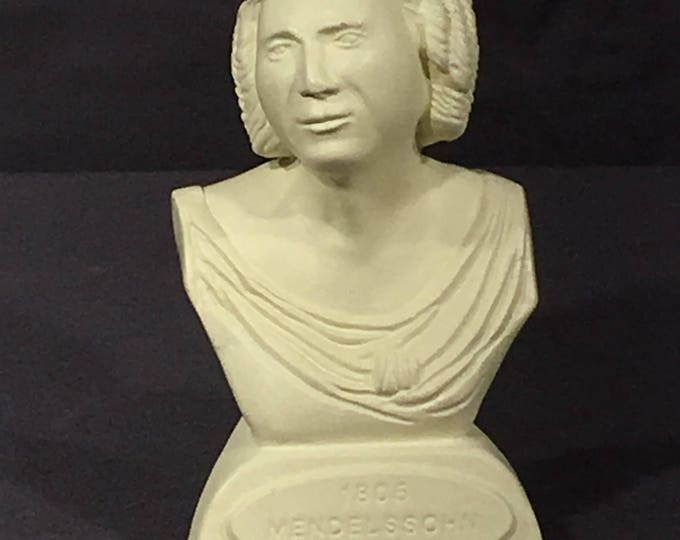 Vintage Music Statue, Mendelssohn 1805-1847 Composer Bust, Decorative White Chalkware, Orchestra Gift, Rare Collectible Statue