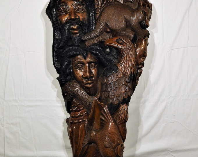Vintage Wood Carving, Caribbean Wall Art, Carved by Rinford, Entryway Decor, Jamaican Rasta Man, Earth Sky Sea, Brown Black Rastafarian