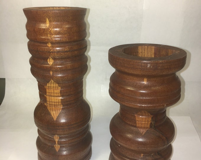 "Vintage Wood Candle Holders (2), Rare Mixed Wood Ring, Wooden Candleholders 8"" Tall 1.5 Cup & 6.25"" Tall 2 1/8"" Cup, Entryway Decor"