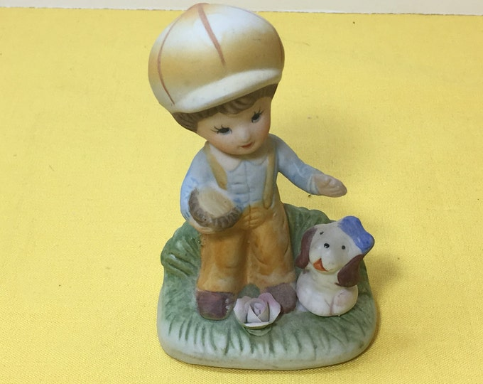 Vintage Figurine, Homco 1430 Figurine, Little Boy Blue Shirt w/Dog, Blue Shirt Little Boy, Mushroom Hat Little Boy Figurine