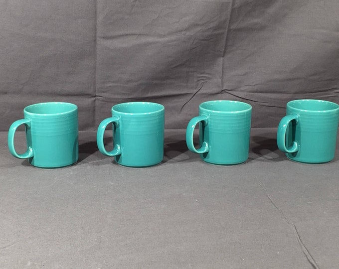 Vintage Rare Mark Mugs (4), Decorative Green Coffee Cups, Ribbed Collectible Dinnerware, Ceramic Kitchenware, Turquoise Drinkware