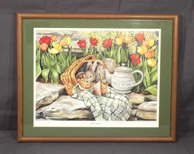 Vintage Peter Rabbit Print, Signed J Davidson Longaberger Exclusive Artwork, Decorative Green White Picture, Rare Collectible, Wall Hanging