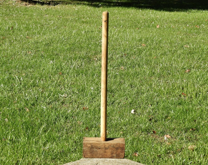 Vintage Wooden Mallet, Primitive Decoration, Large Wood Hammer, Long Handle Tool, Craft Project, Brown Home Decor, Country Farm Art