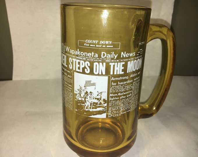 "Vintage Moon Mug, Glass Souvenir Mug, Gold White Collectible Mug, Amber ""Neil Walks on Moon"" Wapakoneta Daily News Mug,E - 13 mark on bottom"