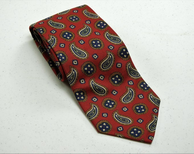 """Vintage Red Paisley Tie, Boston Traders Necktie, 100% Cotton, Made in USA, Men's Fashion, Traditional 3.75"""" Width, 59"""" Length"""