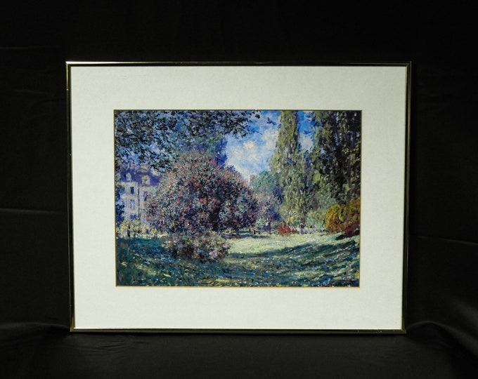 Vintage Monet Print, Wall Hanging, Park Monceau, Paris France, Framed Landscape, Gold Color Trim, Brushed Aluminum, Home Decor