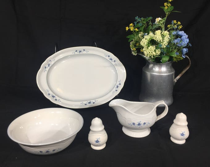 Vintage Pfaltzgraff Poetry Serving Set (5 pcs), White & Blue Decorative Dishes, Ceramic Platter Shakers Gravy Vegetable Bowl, Poetry Glossy