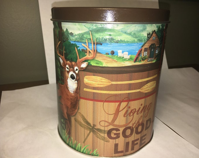 "Vintage Hunters Tin, Brown Green Blue Can, Buck Cabin Collectors Tin ""Living the Good Life"" 5.75"" tall x 5"" across"