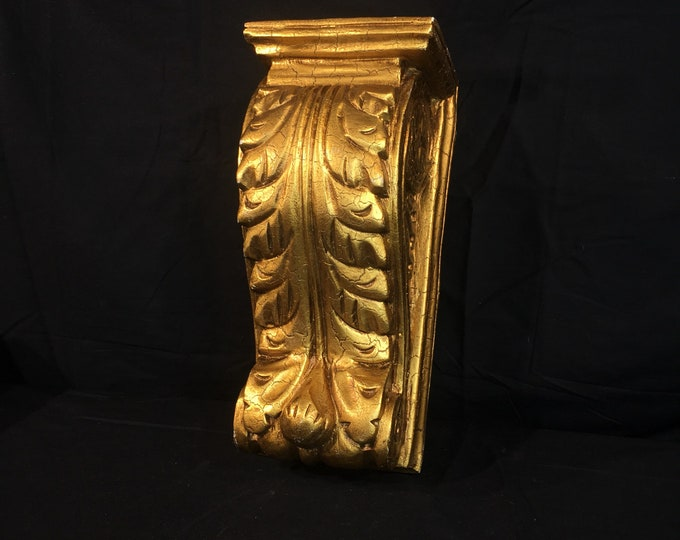 Vintage Gold Wall Shelf, Florentine Sconce, Carved Wooden Figurine Decor, Distressed Wooden Pillar, Distressed Entryway Decoration