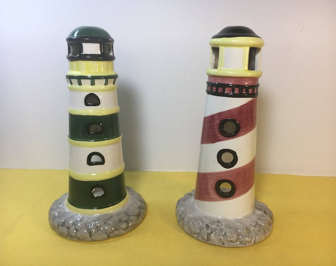 Vintage Tealight Lightouses (2), Ceramic Lighthouses Tealight Holders, Red Pink Yellow White Stripe and Green Yellow White Stripe Lighthouse
