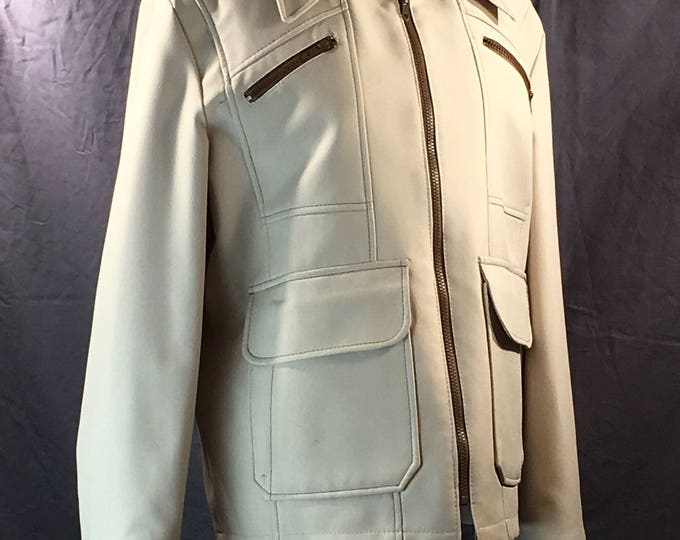 Vintage Men's Coat, White & Brown Trim, Retro Jacket, Light Weight, All Weather Clothing, Women's Work to Evening Fun Coat