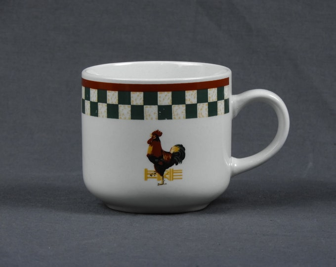 Vintage Coffee Mug, Betty Crocker, Country Inn Collection, Rooster Folk Art, White & Green, Stoneware Cup, Kitchen Decor, Drinkware