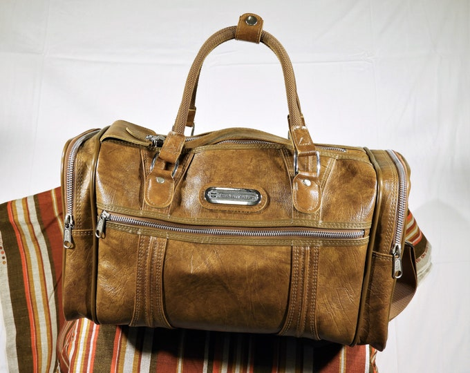 Vintage Travel Bag, American Tourister, Brown Travel Bag, Overnight Suitcase, Carryon Luggage, Fashion Decoration, Faux Leather