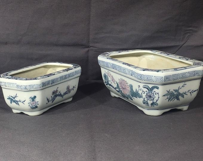 Vintage Chinese Planters (2), Decorative White Blue Ceramic Rose, Rectangular Living Area Planter, Succulent Growing Dish, Asian Flower