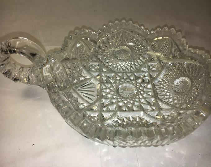 "Vintage Glass Nappy Dish Bowl w/Finger Hole EAPG Nucut Georgeous Artwork 5.5"""