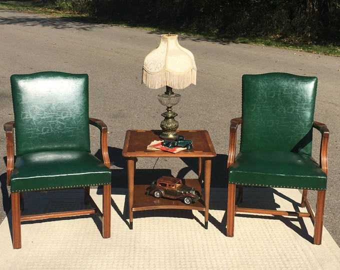 Vintage Mid Century Walnut & Leather Chairs (2), B L Marble Chair Co Furniture, Decorative Green Leather Chairs, Accent Chairs