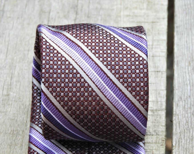 Vintage Purple Necktie, Big & Tall Silk Tie, Pronto Uomo Couture Tie, Violet Tie, Mens Fashion Accessory, Striped Suit Tie, Retro Clothing